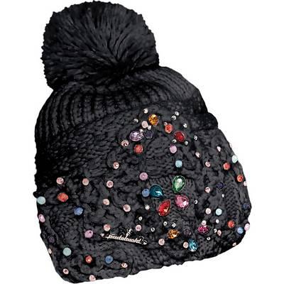 Pudelwohl 6700 Handstrick-Mütze Bommelmütze schwarz