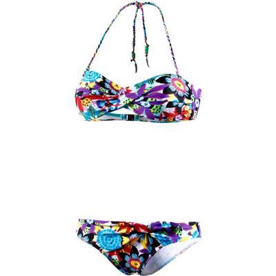 Beachlife Bandeau Bikini Damen weiß/bunt