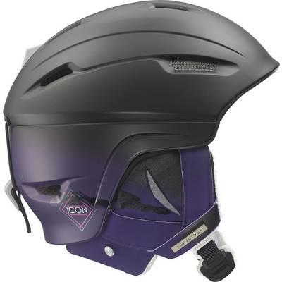Salomon Icon 4D C. Air Skihelm Damen black mat/purple