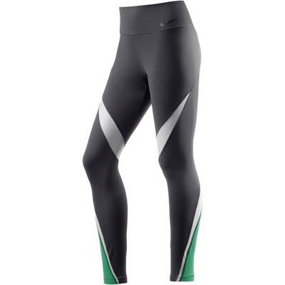 Nike Legendary Fabric Twist Tights Damen anthrazit/weiß/hellgrün
