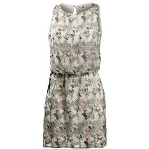 GARCIA Kurzarmkleid Damen oliv/weiß