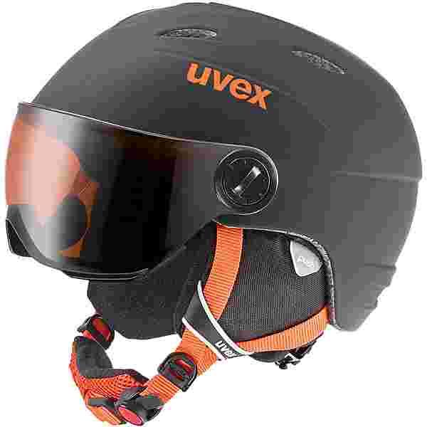 Uvex junior visor pro Skihelm Kinder schwarz-orange