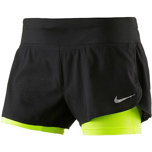 Nike Laufshorts Damen schwarz/neongelb