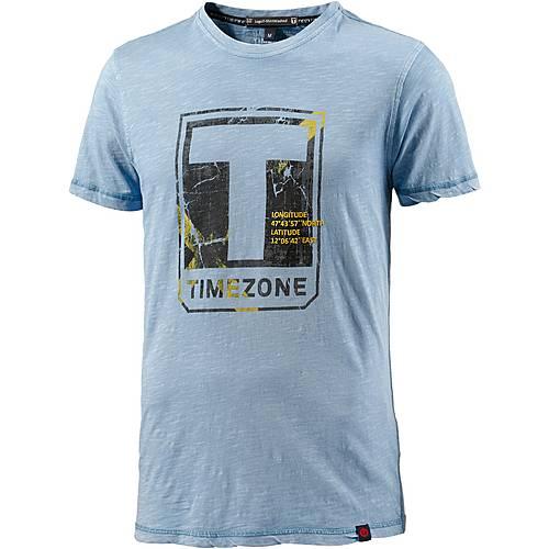 TIMEZONE Printshirt Herren hellblau washed