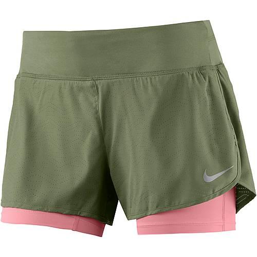 Nike Laufshorts Damen oliv/koralle