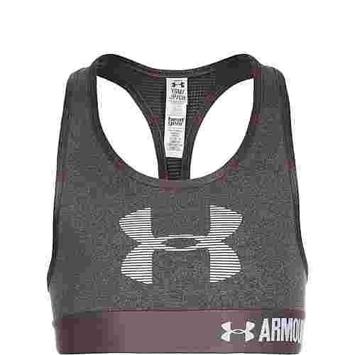 Under Armour HeatGear Graphic Armour Sport-BH Kinder dunkelgrau / weiß