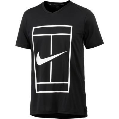 Nike Baseline Tennisshirt Herren schwarz