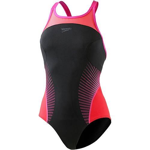 SPEEDO Fit Splice Xback Schwimmanzug Damen schwarz/rot