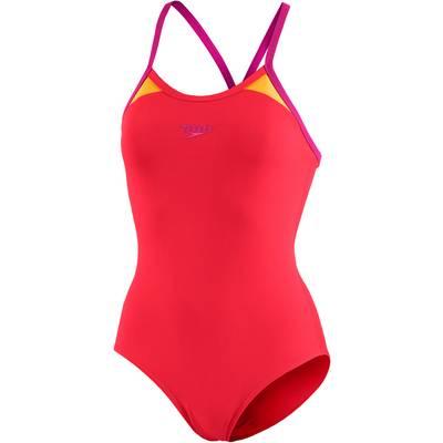SPEEDO Splice Thinstrap Racerback Schwimmanzug Damen rot/orange