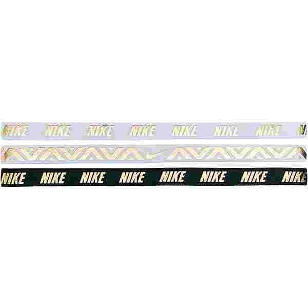 Nike Metallic Haarband Damen white-white-black