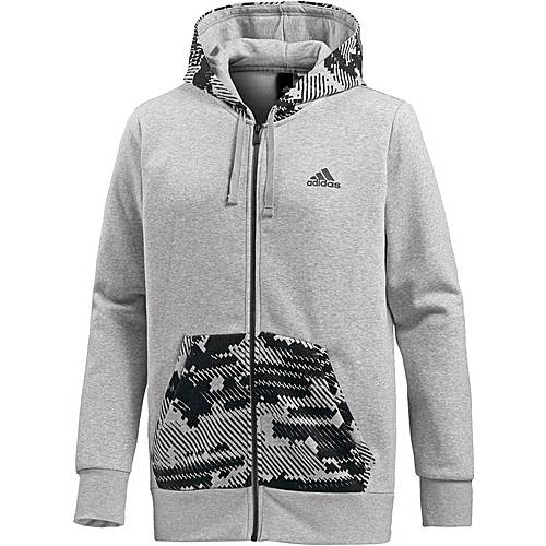 adidas Essential AOP Hoodie Herren medium grey heather