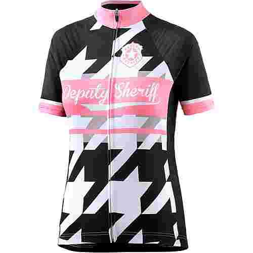 Deputy Sheriff Candy Fahrradtrikot Damen schwarz-weiß-rosa