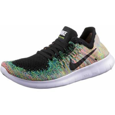 Nike Free RN Flyknit Laufschuhe Kinder schwarz/weiß
