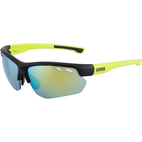 Uvex sportstyle 115 Sportbrille black mat yellow/mirror yellow