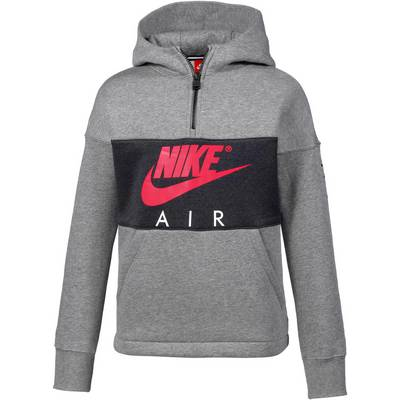 Nike Hoodie Kinder CARBON HEATHER/ANTHRACITE/SIREN RED