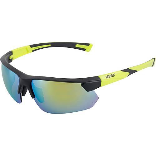 Uvex sportstyle 221 Sportbrille black mat yellow/mirror yellow