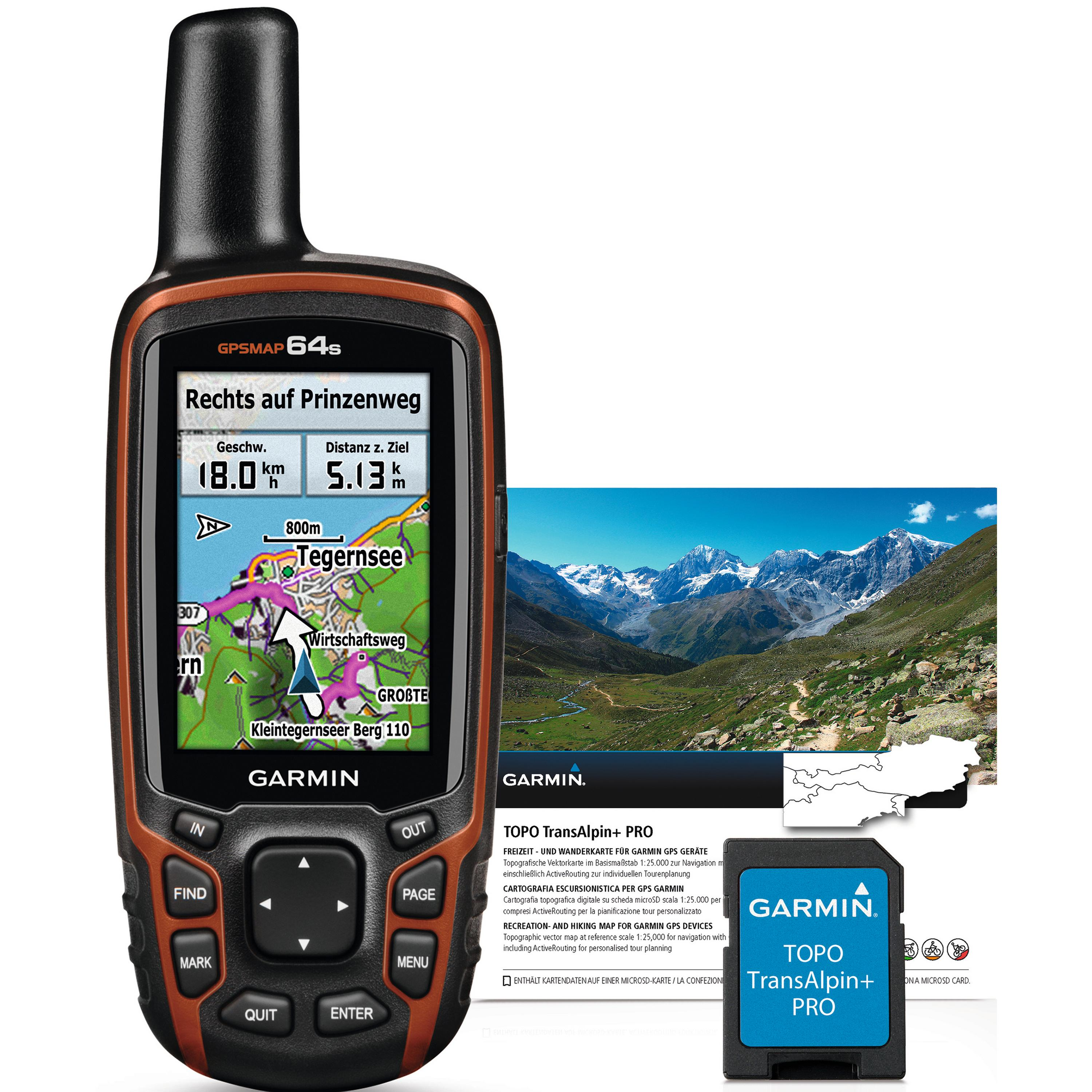 Garmin map64s + Topo Transalpin Pro Bundle GPS