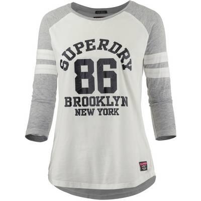 Superdry Langarmshirt Damen weiß/grau