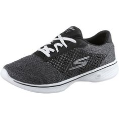 Skechers GO WALK 4 EXCEED Fitnessschuhe Damen Black Textile/ White Trim
