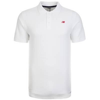 NEW BALANCE Cotton Pique Poloshirt Herren weiß