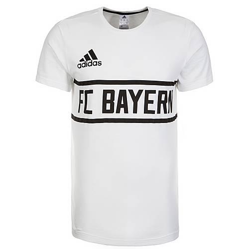 adidas FC Bayern München Graphic Fanshirt Herren weiß / schwarz