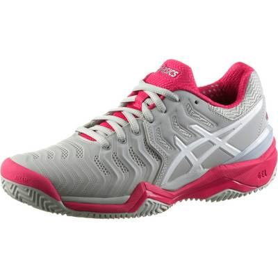 asics gel resolution 7 clay tennisschuhe damen glacier grey white rouge red im online shop von. Black Bedroom Furniture Sets. Home Design Ideas