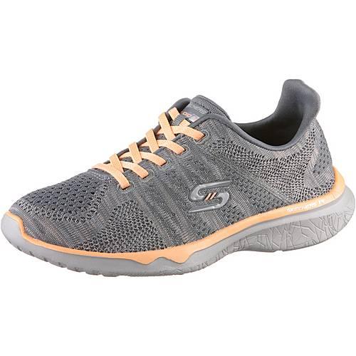 Skechers STUDIO BURST EDGY Sneaker Damen Gray & Orange Mesh/ Lt Gray Trim