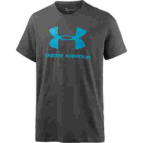 Under Armour HeatGear Sportstyle Logo Funktionsshirt Herren CHARCOAL MEDIUM HEATHER /  / BLUE SHIFT