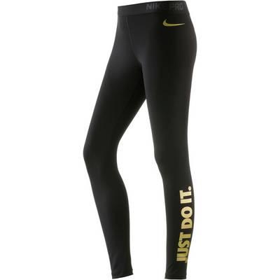 Nike Pro Dry Fit Tights Damen BLACK/METALLIC GOLD