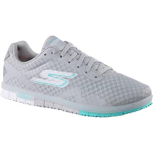 Skechers GO MINI FLEX SPEEDY Sneaker Damen Lt. Gray Textile/ Blue Trim
