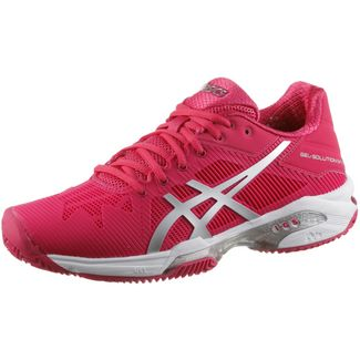 ASICS GEL-SOLUTION SPEED 3 CLAY Tennisschuhe Damen ROUGE RED/SILVER/WHITE