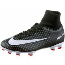 Nike JR MERCURIAL VICTORY VI DF FG Fußballschuhe Kinder BLACK/WHITE-DK GREY-UNIV RED