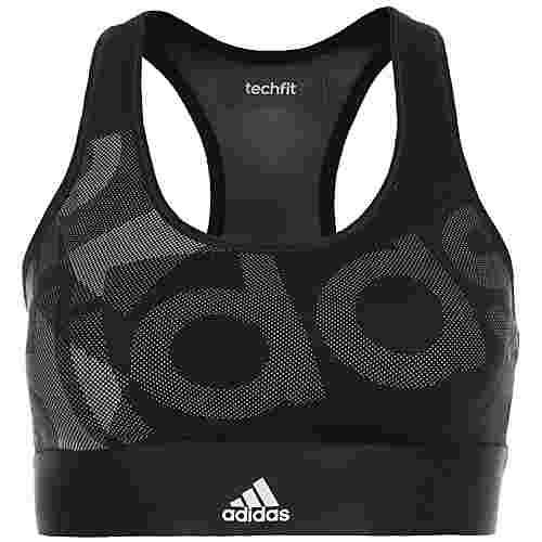 adidas TechFit Sport-BH Damen schwarz / hellgrau