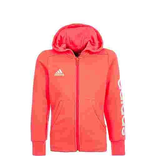 adidas Essentials Linear Sweatjacke Kinder korall / weiß