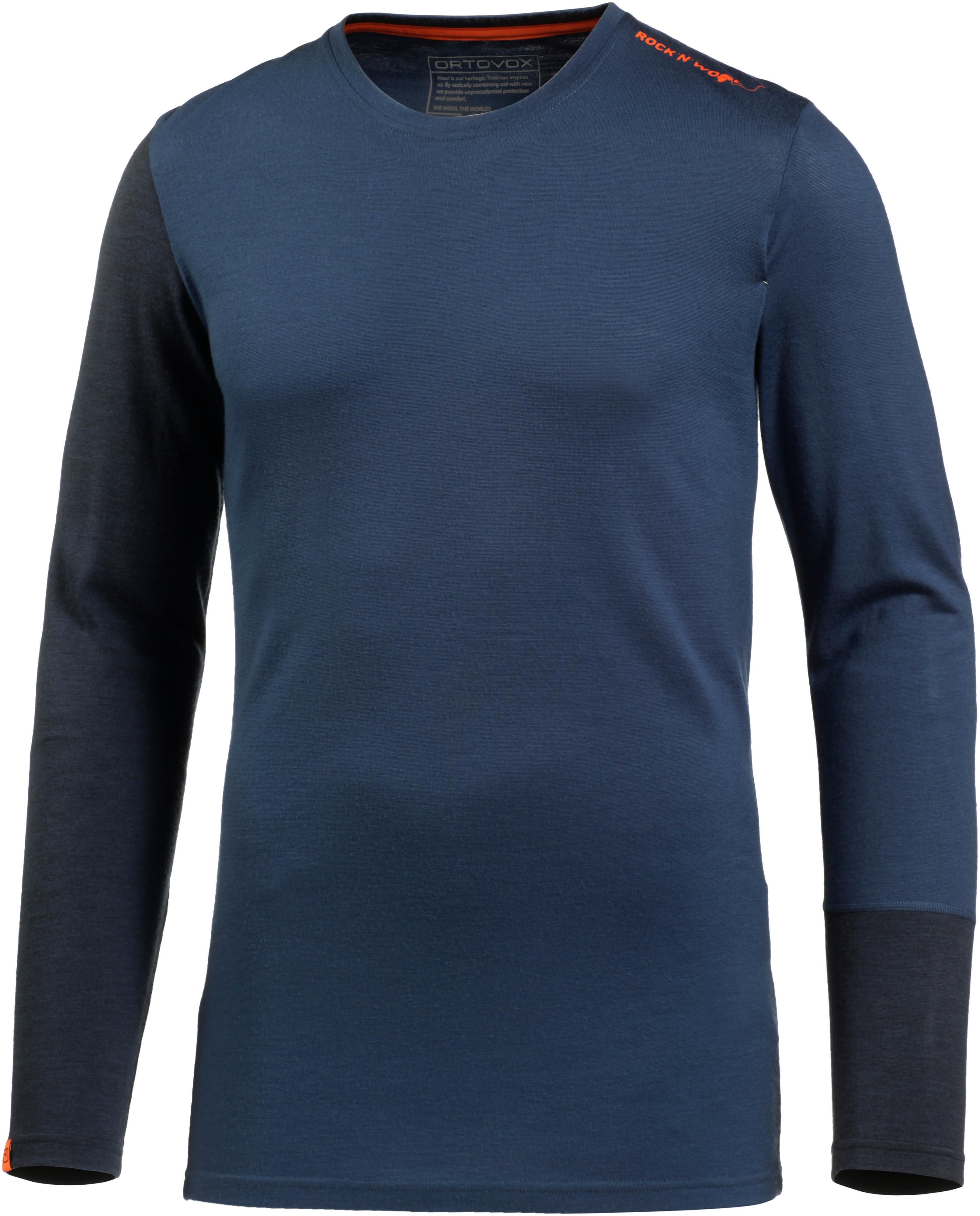 85ba326b091bb9 ORTOVOX 185 Rock n Wool Long Sleeve Merino Funktionsshirt Herren night blue  im Online Shop von SportScheck kaufen