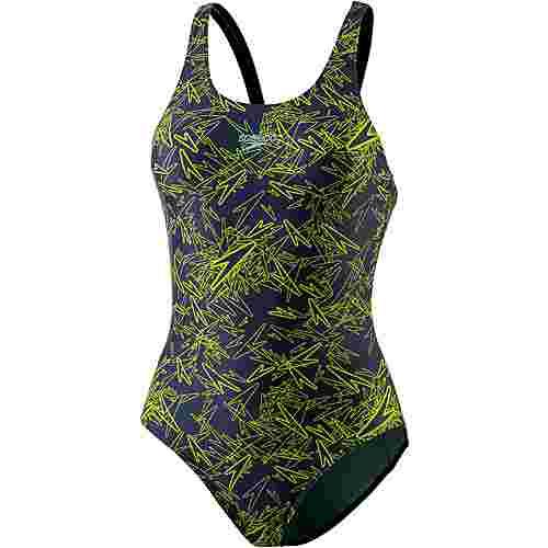 SPEEDO Boom Allover Muscleback Schwimmanzug Damen navy/lime punch