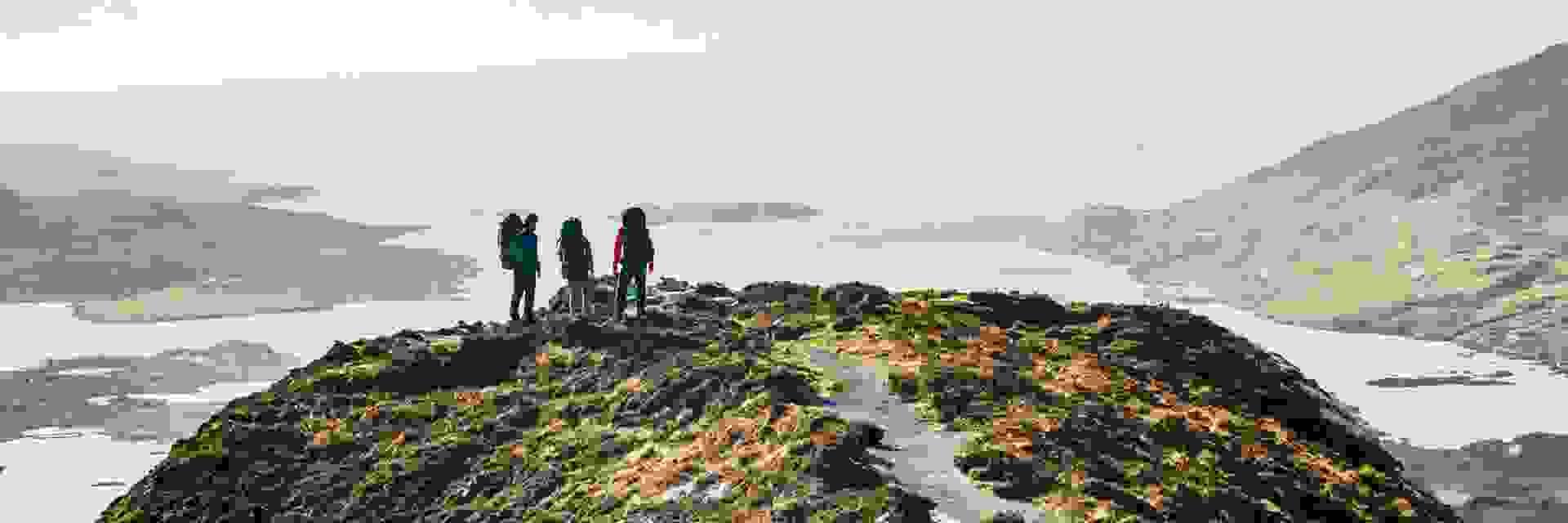 Eine Gruppe Wanderer blickt auf einen Fjord hinaus.