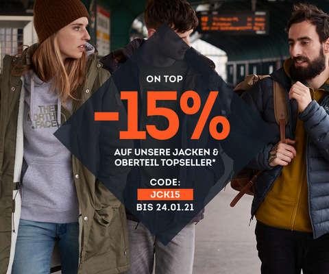 15% auf Topseller Jacken & Oberteile