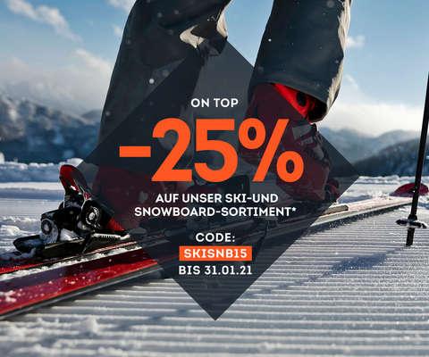 25% auf unser Ski-& Snowboardsortiment