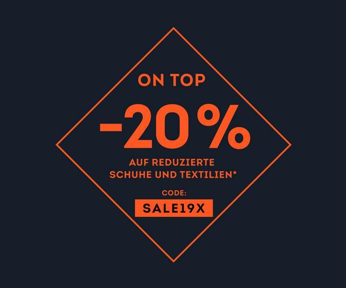 -20% auf bereits reduzierte Schuhe und Textilien