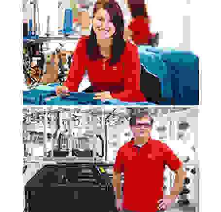 Eine Mitarbeiterin und ein Mitarbeiter der Marke Löffler.
