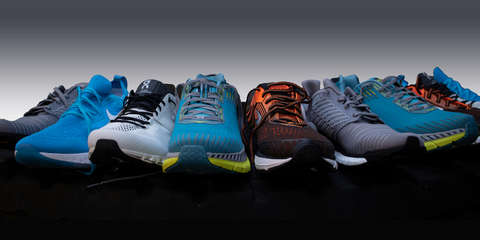 Übersicht Laufschuhe von verschiedenen Marken und Laufschuh Typen.