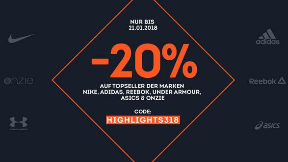 20% auf Topseller der Marken Nike, adidas, asics, under armour, reebok, onzie