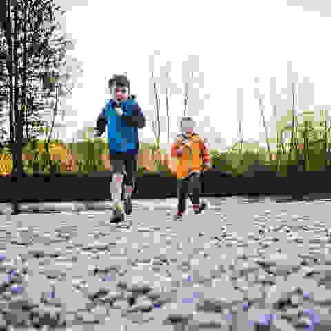 Kinder beim Wandern in einem Flussbett