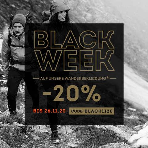 Black Week - 20% auf unsere Wanderbekleidung