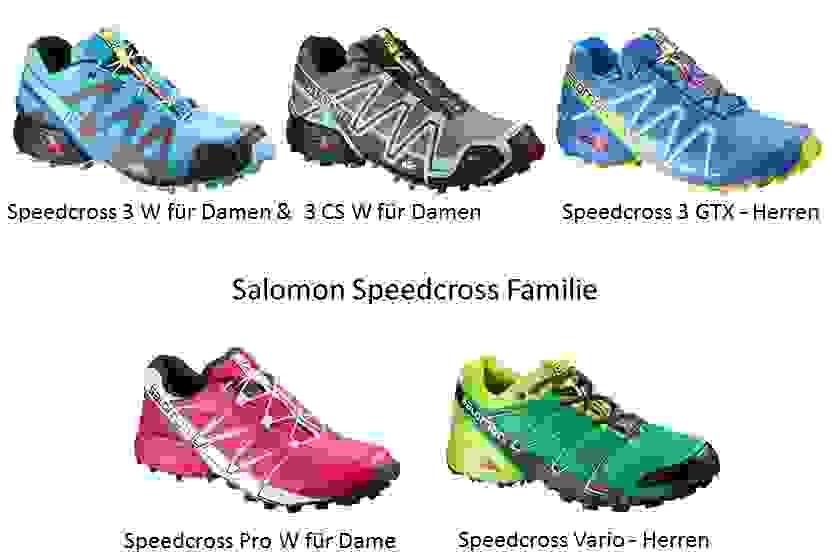Fünf verschiedene Salomon Speedcross Modelle auf einen Blick.