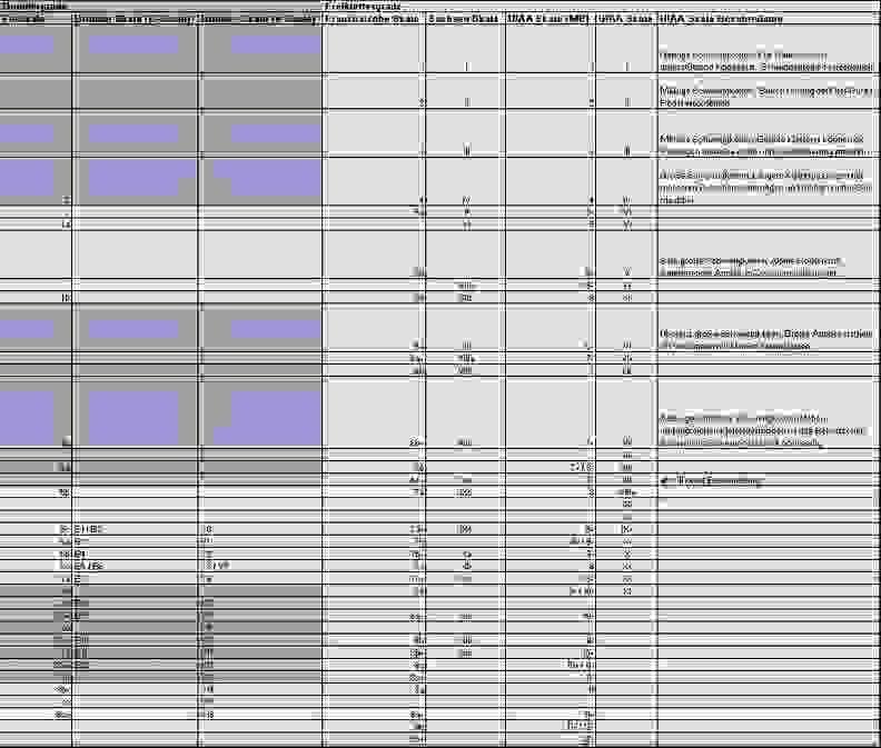 Eine Tabelle aus der die einzelnen Boulder Schwierigkeitsgrade hervorgehen.