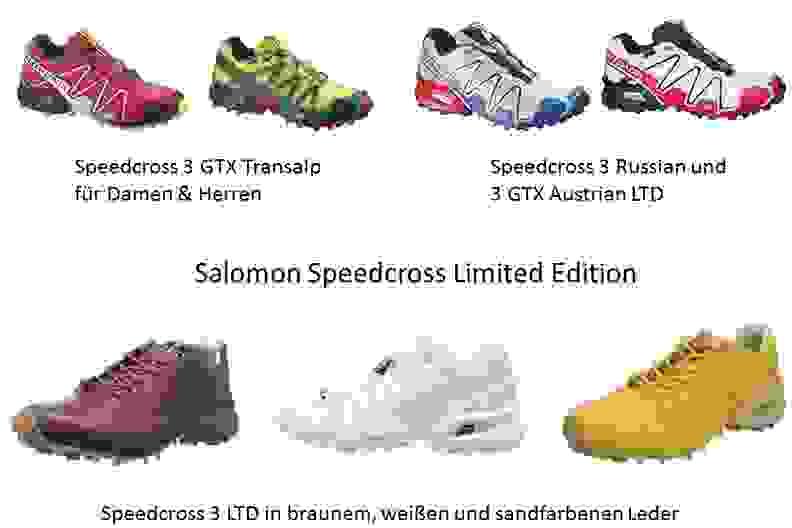 Eine Übersicht von Salomon Speedcross Sondermodellen.