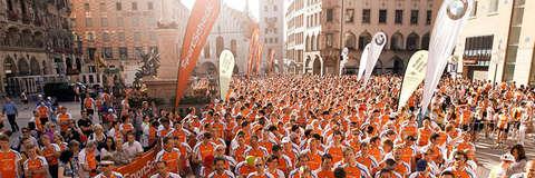 Das Starterfeld eines SportScheck Stadtlaufs in München.