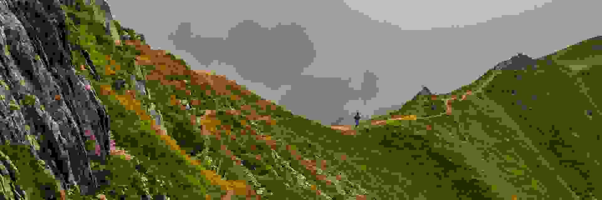 Ein Trailrunner läuft einen Trail über einen Bergkamm.